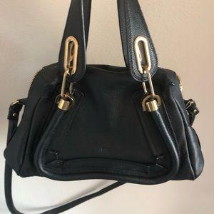 Authentic Chloe calfskin Paraty bag in black